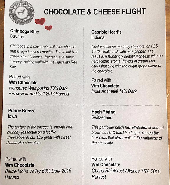 Chocolate & cheese flight