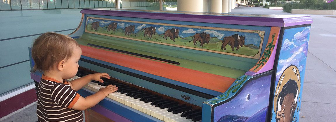 Public pianos in Cowles Commons in DSM USA